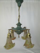 ANTIQUE 1920'S DECCO BRASS 4 LIGHT CHANDELIER