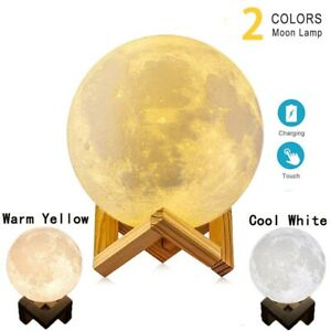 3D Printing Moon Lamp With Wooden Holder LED Environment Friendly Material