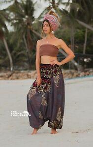 Grey Harem Pants Yoga Trousers Mandala Loose Comfy Yoga Festival Aladdin Boho