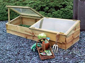 Large Wooden Cold Frame Mini Greenhouse Pressure Treated Timber Grow Allotment
