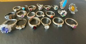 Sterling silver 925 mixed lot of rings with various stones some scrap 59 grams