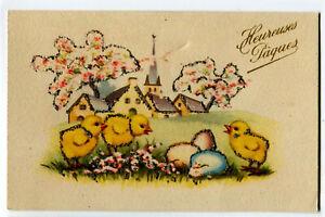 CPSM Fantaisie Heureuse Pâques Poussins carte brillante