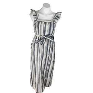 Ella Moss Stacy Belted Midi Dress Womens Striped Blue White Size Small