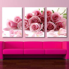 3 pcs Wall Art Pink Roses Painting Print On Canvas Home Decoration Modern Oil