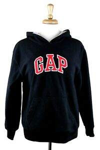 Gap Youth Black Fleece Hoodie Pullover Red Spell Out Logo Size XL (12) VGUC