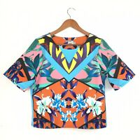 ASOS Boxy Blogger Statement Top Multicolour Tropical Mirror Image Floral 12 40