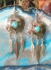 Ohrring Türkis Scheibe Feder Indianer Stil Sterling Silber 925 Indianerschmuck