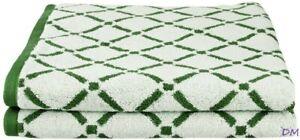 "Reversible 2-pc Hunter Green & Cream Diamond Pattern Bath  Towels 550GSM 30""x52"""