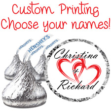 108 Custom Names Wedding Party Favor Stickers Fits Hershey Kiss Labels Hearts