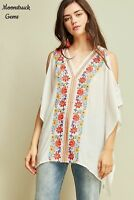 ENTRO Floral Embroidered Cold Shoulder Boho Tunic Top