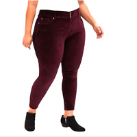 NWD Torrid Stretch High Rise Jeggings Jeans Velvet Burgundy Red Size 26 R
