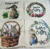 "Watercolor Print Spring Throw Pillow Cover Easter Rabbit Eggs Zip 18""x18"" U Pick"