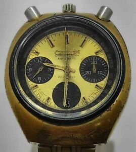 Citizen 8110 BULLHEAD Flyback Gold dial Chronograph Mens Automatic Watch VINTAGE