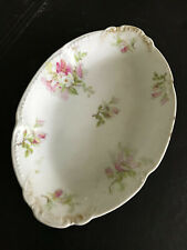 Ch. Field Limoges France Gda Pink Floral oval dish 9 inch long