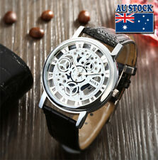 Men's White Dial Silver Skeleton Mechanical Leather Round Wrist Watch