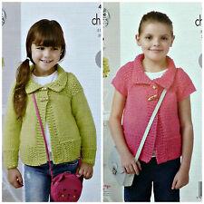 Knitting pattern Ragazze facile Knit Lunghe / Manica Corta Moss Stitch Giacca chunky4437