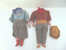 Antique Composition doll Bodies.  All original cowboy & Cowgirl.  No heads.