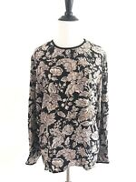 Nordstrom Town Square Silk Floral Blouse Size 8 Brown Button Cuff Crewneck