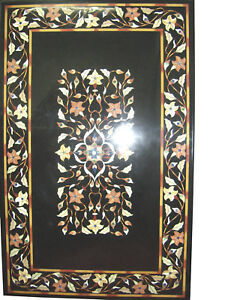 "60"" x 36"" Marble Coffee Table Top Semi Precious Stones Inlay Work"
