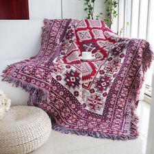 Small-XL Purple Reversible BOHO Navajo Rug Cotton Throw Sofa Blanket Picnic Camp
