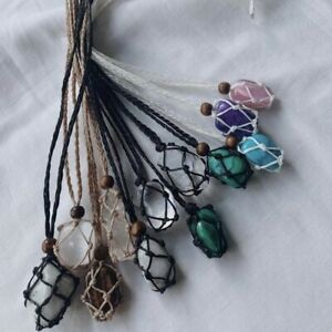 macrame crystal necklace. Hand Wrapped. Healing Crystals