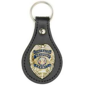 Gold CWP Concealed Weapons Permit Badge BLACK Leather FOB Key chain Key ring M2