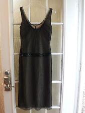 "Authentic Vera Wang Black Mesh Tulle Beige Lining Sleeveless Dress Women 2""NWOT"""