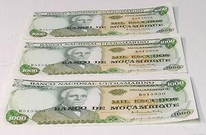 3 Consecutive Banco De Mocambique 1000 Eucudos