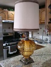 Large Vintage Mid Century Amber Glass Table Lamp Hollywood Regency w/ NIGHTLIGHT