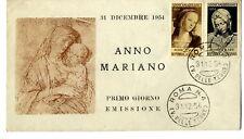 Sobre 1954 sellos Italia Año Mariano Firts day cover Primo Giorno Emissione