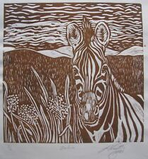 "LYNN KEATING AUSTRALIAN LARGE LINOCUT BROWN PRINT ""ZEBRA"" LTD ED 2006"