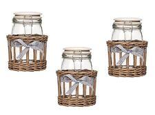 Set di 3 Country Cottage STORAGE JAR vetro con GRIGIO Willow CESTO 1000ml BARATTOLI