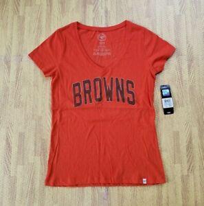 Cleveland Browns V Neck '47 Brand NFL Football Orange Shirt Women's Medium M SS