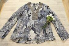 Mint Velvet 16 100% Silk Top Blouse Semi Sheer Long Sleeved