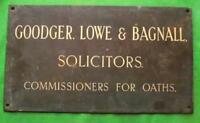 "c1900 Brass Goodger Lowe Bagnall Solicitor Antique Sign Plaque  18"" X 10""  3.5KG"