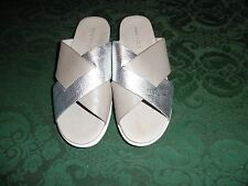 $99 KENNETH COLE MAXWELL LEATHER SANDALS SLIDES SHOES SIZE 10 SILVER BEIGE