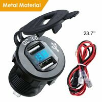QC 3.0 USB Quick Charging Charger Socket Power Adapter +Cable For Car Motorcycle