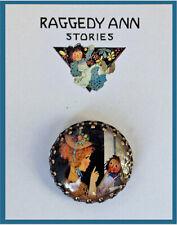MARCELLA & RAGGEDY ANN Glass Dome BUTTON 30mm VINTAGE GRUELLE BOOK ILLUSTRATION