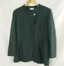 Giorgio Armani VTG Womens 3 Button Front Green Wool Blend Jacket Size 14