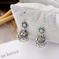 Women Bohemian Boho Style Small Bell Shape Turquoise Flower Drop Ethnic Earrings