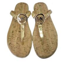 Michael Kors Women's MK Charm Cork Jelly Sandal Gold Hardware US Size 8