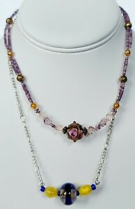 2 Murano Necklaces!  One Pink Tones With A Cake Bead - Other Silver Tone...