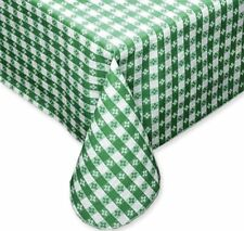 """Vinyl Tablecloth Tavern Check Flannel Back, 70"""" Round, Green & White"""