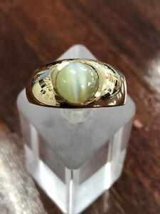 "ESTATE - 18ct Chrysoberyl ""Cats Eye"" Signet Ring - With Written Valuation"