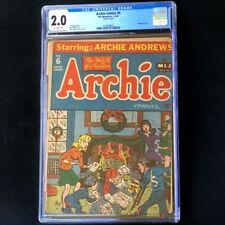 Archie Comics #6 (1944) 💥 CGC 2.0 OW 💥 Classic Christmas Cover Rare Comic MLJ