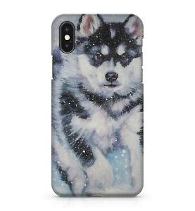 Fluffy White Coloured Winter Husky Dog Snowy Mountain Forest Phone Case Cover