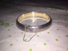 Vintage Signed ND 925 Sterling Silver Hinged Bangle Bracelet Floral Flower etch