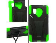 Sprint LG Optimus G LS970 Advanced KICK STAND Rubber Case Cover Black Neon Green