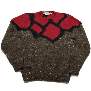 Vintage Yves Saint Laurent Mens Brown Red Wool Knit Sweater Sz L Rare YSL
