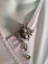 Silver Metal Bumble Bee ID Badge Holder Nurses Teachers Offices Alligator Clip